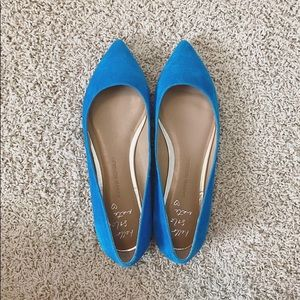 Blue Suede Pointed Toe Flats